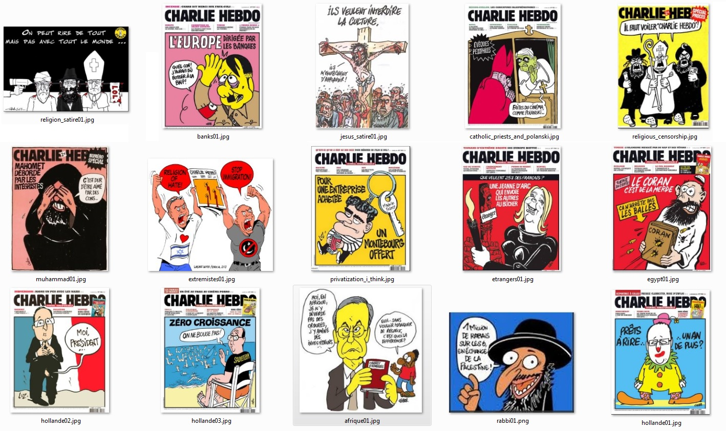 Charlie Hebdo front pages
