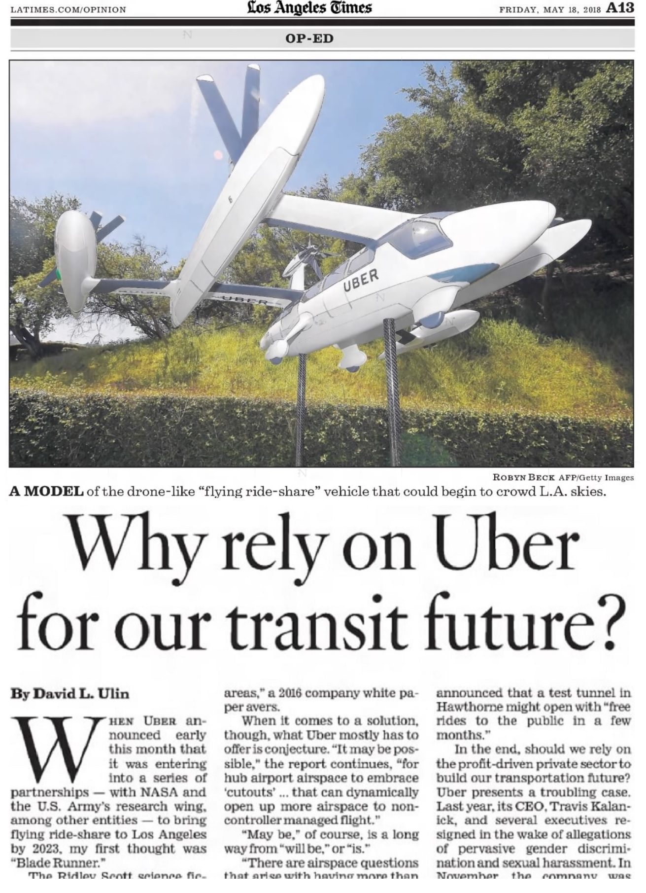 David Ulin's Op-ed piece in the Los Angeles Times entitled 'Why rely on Uber for our transit future'