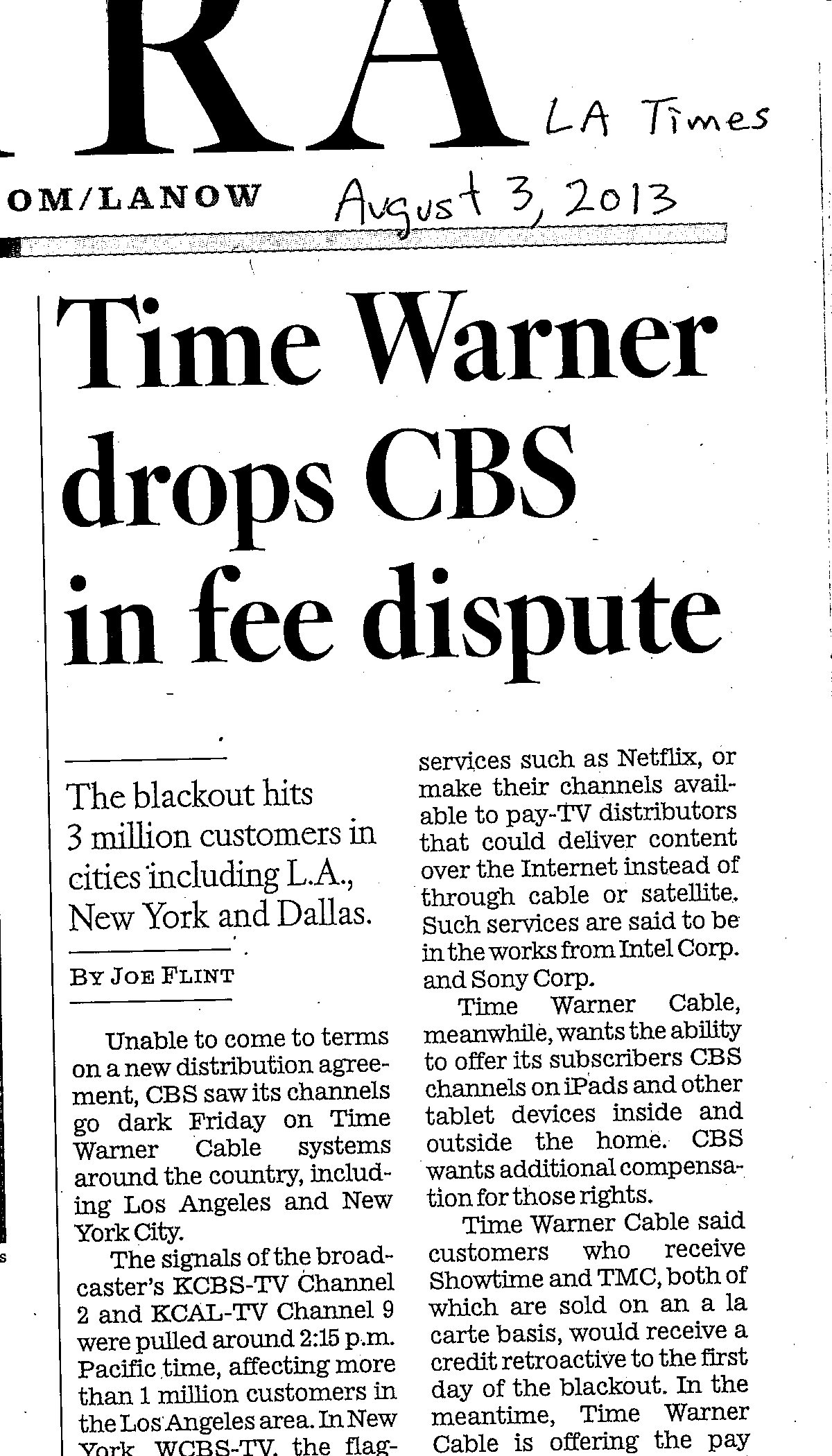 LA Times clip on Time Warner vs. CBS - 2013-08-03